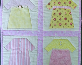 Pink & Yellows Fancy Frocks Quilted Wall Hanging by Made Marion