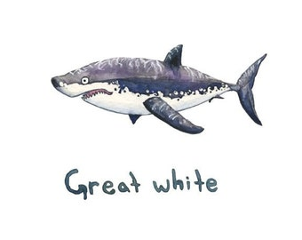 Great white shark watercolor print, sharks, toothy grin, wall art, decor, ocean art, ocean, painting, illustration, kids, nautical, science