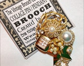 Vintage collage brooch pin bling rhinestone falling star