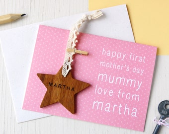 Personalised First Mother's Day Star Card. Handmade Mother's Day Card. Engraved Keepsake. First Mother's Day Card. Eco Friendly Wooden Gift.