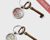 Custom Map KeyChain Ring Made to Order Your City Fob Groomsmen Gift