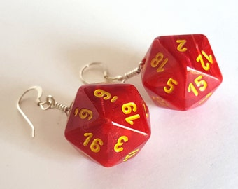 D20 Twenty Sided Dice Earrings - Red Swirl with Yellow Numbers - Geeky Gamer Jewelry