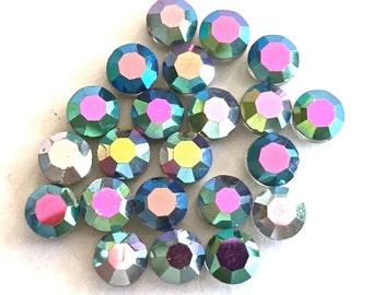 Rare Vintage Swarovski  (20) beads Austrian crystal 6mm vitrial AB aurora borealis crystal faceted Art 335 5100 5101 beads aspirin (20)
