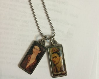Frida Kahlo Two Pendants Silver Necklace on LONG Metal Ball Chain