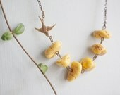 Turquoise Necklace Turquoise Jewelry Yellow Necklace Stone Necklace Bird Necklace Fall Necklace Boho Necklace Bib Necklace Gift For Her