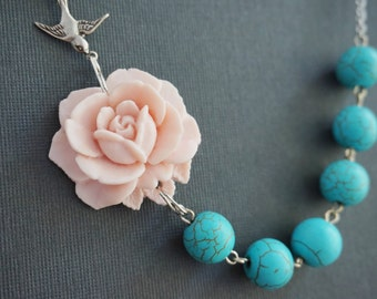 Turquoise Jewelry,Turquoise Necklace,Statement Necklace,Bridesmaid Jewelry Set,Pink Necklace,Pink Flower Necklace,Beaded Necklace,Gift Her