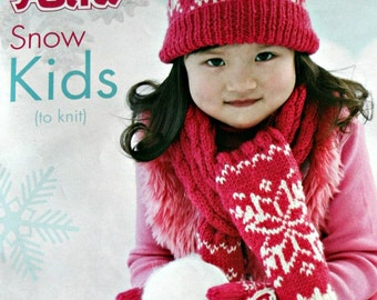Accessories Knitting Patterns Kids Hats Scarves Mittens Snow Kids Children Beehive Patons 500853 Paper Original NOT a PDF