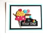 Ice Cream Cards, Birthday Cards, Ice Cream Birthday, Friend Birthday Card, Fun Birthday Card, Happy Bday Card, 3D Card