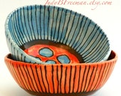 Stoneware Bowls Handmade Set of Two Striped and Spotted Coral Hind Wabi Sabi Ready to Ship BWL002
