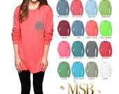 Long Sleeve Pocket Tee T-Shirt monogrammed on front pocket - back - arm - dance - cheer - teams - spirit wear - pigment dyed
