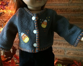 18 Inch Doll clothes - Candy Corn Gray Fleece Jacket - For Halloween