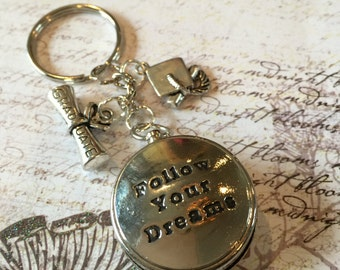 Graduation Gift, Follow Your Dreams, Compass Keychain, Small Compass, Silver Compass, Engraved Compass, Engraved Compass Keychain