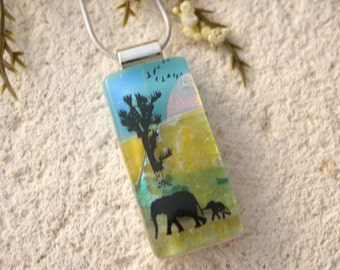 Slim Elephant Necklace, Dichroic Pendant, Mother & Baby Elephant Necklace, Fused Glass Jewelry, Dichroic Jewelry, Silver Jewelry, 092516p104