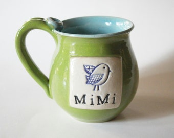 Mimi Mug - 14 oz - Mug for MiMi with bluebird - Mug with thumb rest