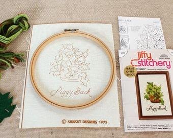 Vintage House Plant Crewel Kit – Botanical Stamped Pattern w/ Embroidery Hoop - Sunset Designs Jiffy Stitchery PiggyBack - Mothers Day Gift