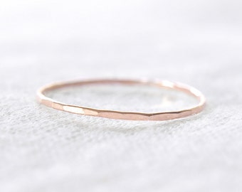 14K Solid Rose Gold EXTRA Skinny stacking ring - delicate dainty pink gold ring - faceted hammered texture - thin gossamer ring / Silk 0.8mm