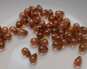 Czech Glass Teardrop Beads 6x4mm Fringe Transparent Topaz Rose Gold Luster (25pk) SI-6x4D-TTRGL