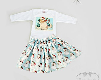 Santa Christmas Outfit - Skirt Girl Christmas Toddler -  Girl Holiday Outfit - Vintage Santa Skirt - 6m 12m 18m 2T 3T 4T 5 6 7 8 10 12