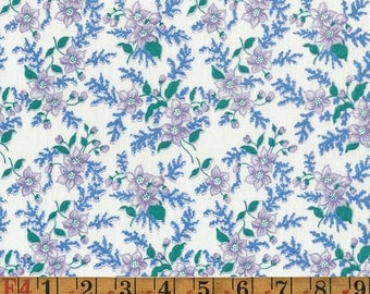 Vintage Feedsack Fabric - Purple & Blue Floral - Flour Sack/Feedsack Quilting Cotton 40s 30s