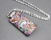 Polymer clay pendant necklace Chain Abstract feminine design Flower botanical inspired jewelry Rectangle pendant. Metallic colors  23 inches