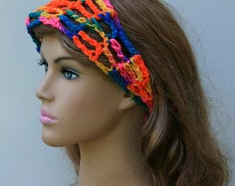 Bright Dread headband dreadband head hair band wrap scarf hippie crochet bandana, neon tie head band