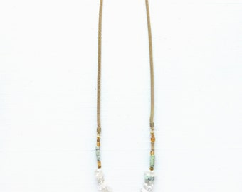 Quartz//Turquoise//Citrine stone necklace//Snake chain//Aqua Gold + Tangerine//Long necklace//Gift for woman//Gift for wife//Made in USA