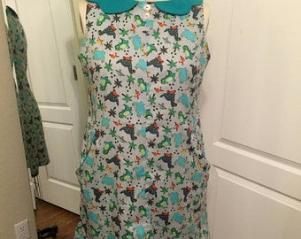 Mrs Frizzle Dinosaur Print 60s Mod Dress with Collar and Pockets! Size 18/20