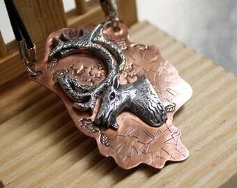 Deer silver necklace. Deer pendant. Deer Spirit from Woodland collection. Rustic jewelry