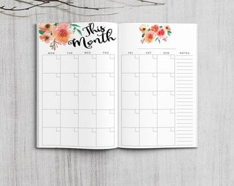 Printable Monthly Planner, Pocket Size Monthly Planner, Printable Field Note Monthly planner inserts, PDF file