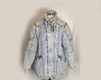 Women's Vintage Acid Wash Jacket, Car Coat, Winter, Sherpa Collar, Fiberfill Insulation, Flannel Lining, New York Girl, 1980's, Medium/Large