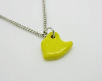 Small Yellow Ohio Necklace Glazed Ceramic on an 18 inch Silver Chain