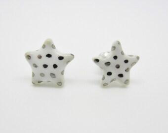 Metallic Silver Polka Dot Star Earrings on Titanium Posts 100% Nickel Free