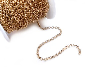 3 Meters Small Rolo Gold Plated link Chain - 3.5mm links
