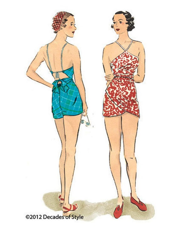 Shop 1930s Style Swimsuits, Bathing Suits, Swimwear 1930 Beach romper $20.00 AT vintagedancer.com