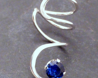 Sterling Lab Sapphire Ear Cuff - BLUE SPIRAL SPARKLE - Handcrafted Silver 925 Lab-Grown Gemstone Earcuff