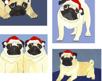 Holiday Pug Cards - Festive Fawn Pugs