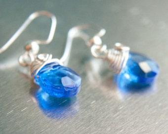 Sapphire Faceted Teardrop Earrings, Silver Wire Wrap Earrings, Cobalt Jewelry
