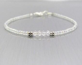 Crystal Beaded Bracelet Dainty Minimal Swarovski Crystals, Wedding Bridal Bridesmaid, Confirmation Jewelry, Christmas Holiday Gift