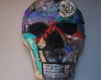 AlteRed aRt HoMaGe to EdGaR A.pOe's wOrK WeaRaBle sKuLL MasK OOak HaLLowEEn