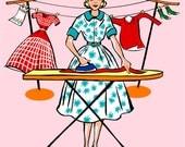 Wall decor, pink, Mid Century, 50's, Laundry Room, laundry room print, Fashionista, retro print, ironing, 8x10, 8 x 10