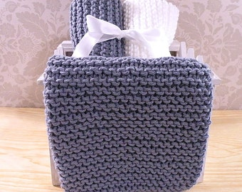 Hand Knitted Dishcloths, Cotton Washcloths, Dish Cloths, Wash Cloths, Handmade towels, Dish Rags  - Gray