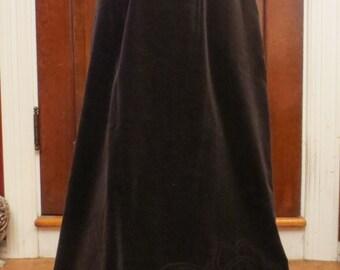 Vintage 1970's Brown Velvet Skirt Floor Length Medium Union Label