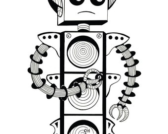 Coloring Art Print Robot #5 Nor Bot 11x17 Poster Art For You To Color and Frame with FREE Markers