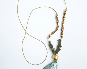 One of a kind  style pendent necklace. Abalone, green, mint, gold, hammered, long, brass, copper, vintage, antique bead labradorite gray
