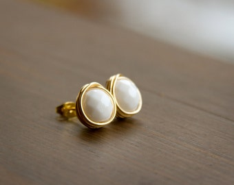 Large Wire Wrapped Stud Earrings - Simple Faceted White Czech Glass Bead Earrings in Gold