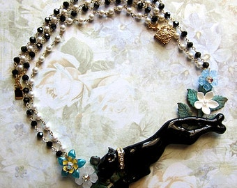 Running Black Panther Surrounded By Nature Necklace Flowers Natural Crystals Jungle Glamorous Wild Fierce Forest Cheetah Puma