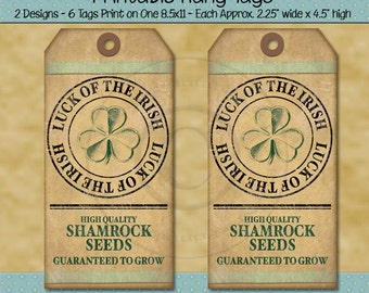 St Patricks Day Tags - Luck of the Irish Shamrock Seeds Tag - Rustic Farmhouse Primitive Style - Printable Digital PDF or JPG File