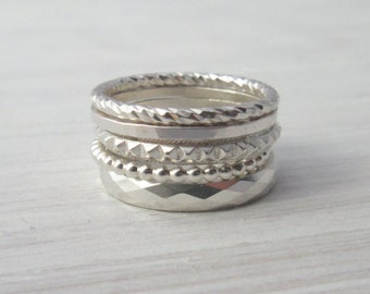 Set of 5 Sterling Silver Stacking Rings  - Stacking Rings - Thin Silver Rings - Skinny Rings - Thin Hammered Rings - Textured Rings