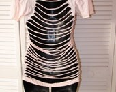 light peach shredded backless DIY t shirt size Small S