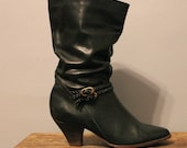Black BRAID dress boots - Vintage boots with heel
